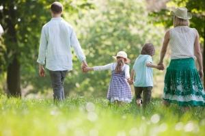 Family on stroll